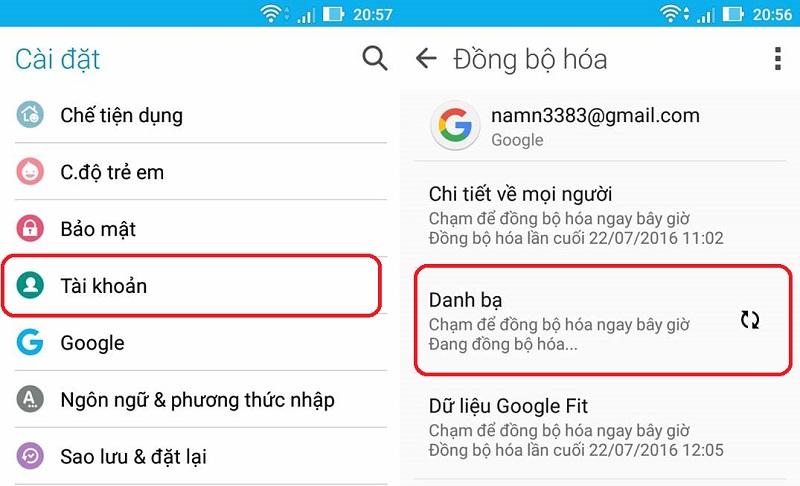 Bạn có thể khôi phục danh bạ nhờ đồng bộ với tài khoản Google